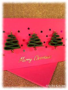 Weihnachtskarte mit Moosgummi-Tannenbäumen