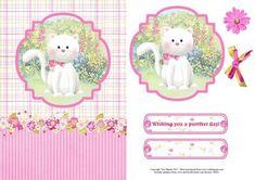 Cute white kitten card topper decoupage on Craftsuprint designed by Toni Martin…