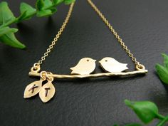 Personalized TWO Initial Necklace Couple by DanglingJewelry, $30.00
