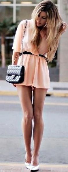 Feel the summer with pastel salmon colored dress