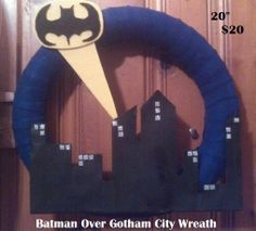 Batman over Gotham City Wreath