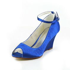 Satin Wedge Heel Ankle-Strap Peep Toe Pumps Wedding Shoes(More Colors) – GBP £ 48.71
