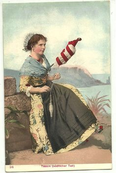 Ticino Lady Spinning Authentic Swiss Costumes Switzerland Old Postcard