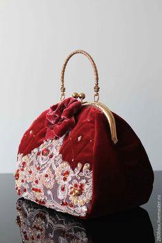 Купить Бархатная сумочка, сумочка на выход, вишневый, вечерняя сумочка - сумка женская, саквояж