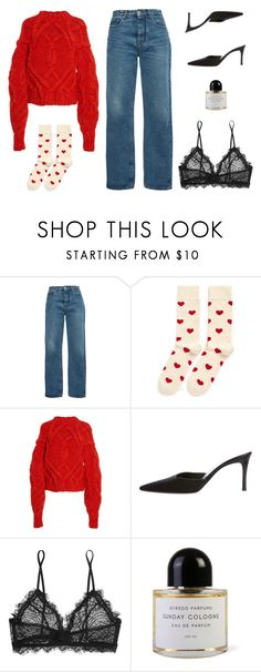 """""""Untitled #7404"""" by amberelb ❤ liked on Polyvore featuring MSGM, Happy Socks, Ulla Johnson, Gucci, Anine Bing and Byredo"""