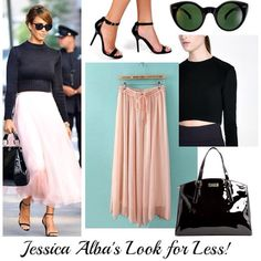 Cropped sweater, Chiffon Skirt, Strappy Heels. Love the Combo!