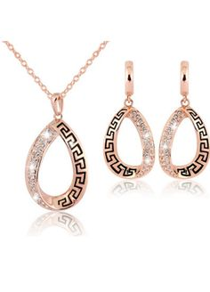 Rose Gold Plated Fashion Classic Crystal Necklace Earrings Set _Jewelry & Accessories_Sexy Lingeire | Cheap Plus Size Lingerie At Wholesale Price | Feelovely.com