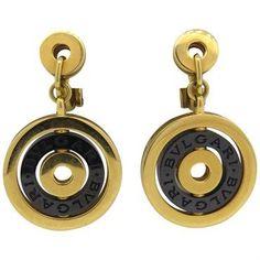 Bulgari Bvlgari Astrale Black Ceramic 18k Gold Drop Earrings