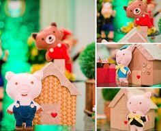 Bonecos de feltro Os Tres Porquinhos em decoração de aniversário