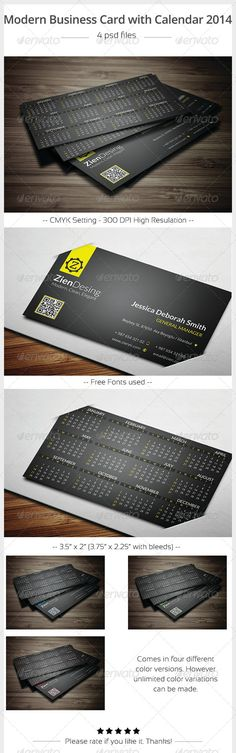 """Modern Business Card with 2014 Calendar  #GraphicRiver         Full Layered PSD files  Customizable and Editable  CMYK setting  300 DPI High Resolution  4 Color Variants (Blue, Green, Red, Yellow)  3.5"""" x 2"""" (3.75"""" x 2.25"""" with bleeds) Horizontal Design   Weeks Start with Sunday   Print Ready Format  Font Used: Lato OpenSans      Created: 25October13 GraphicsFilesIncluded: PhotoshopPSD Layered: Yes MinimumAdobeCSVersion: CS PrintDimensions: 3.5x2 Tags: black #blue #businesscard #calendar…"""