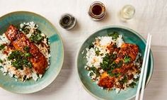 Thomasina Miers' Miso and soy salmon sticky rice bowl with crisp kale.