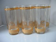 Vintage Culver Tumblers - Mid Century with Lovely Devon Natural Pattern