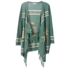 Bohemian fringed irregular cardigan green (€51) ❤ liked on Polyvore featuring tops, cardigans, outerwear, jackets, sweaters, green, boho cardigan, green top, bohemian tops and long fringe cardigan