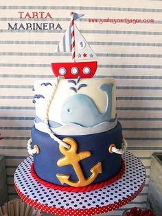 Nautical Birthday Cakes, Nautical Cake, Baby Birthday, Nautical Party, Bolo Fake Eva, Rodjendanske Torte, Boat Cake, Sea Cakes, Gateaux Cake
