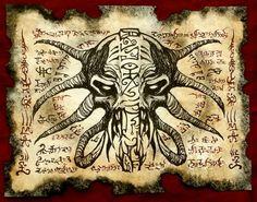 Cthulhu larp DEMON MASK Necronomicon fragment Scroll Magick