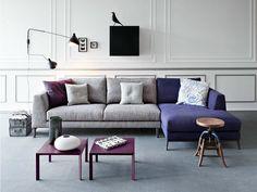 canapé gris avec méridienne violette de design italien par Pianca