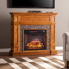 Southern Enterprises Belleview Infrared Electric Fireplace TV Stand >>> Learn more by visiting the image link. (This is an affiliate link)