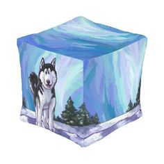 Cute Heads and Tails Husky Cube Pouf by Animal Parade
