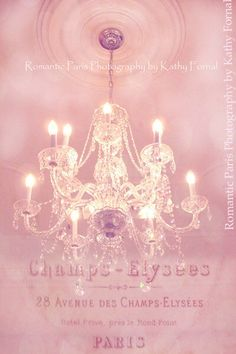 Paris Photography, Paris Pink Crystal Chandelier, Sparkling Pink Chandelier, Paris Decor, Pink Chandelier Art, Paris Baby Girl Nursery Decor by KathyFornal on Etsy https://www.etsy.com/listing/79521210/paris-photography-paris-pink-crystal