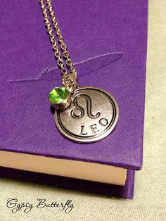 Leo zodiac sign necklace, Peridot birth stone charm