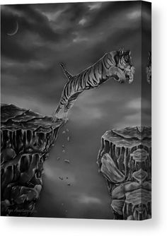 Tiger Wood Print featuring the drawing The Leap by Faye Anastasopoulou Ocean Scenes, Thing 1, Great Pictures, Stretched Canvas Prints, Wood Print, Artist At Work, Fine Art America, Original Art, Lion Sculpture