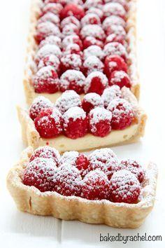Cheesecake tart with fresh raspberries recipe from /bakedbyrachel/