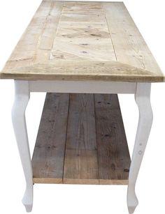 Salontafel queen anne steigerhout met schap en verstek for Xenos meubels