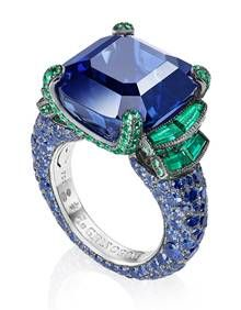 de Grisogono High Jewellery ring in white gold with blue sapphires and emeralds