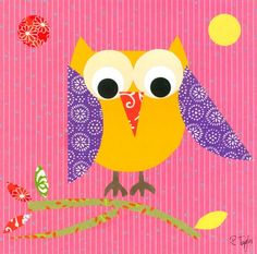 """Mod Owl on Pink"" kids wall decor by Rachel Taylor for Oopsy daisy, Fine Art for Kids $49"