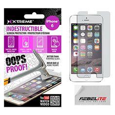 Rebelite Indestructible Screen Protector for iPhone 6 & 6S with Military Grade Shock, Scratch, & Break Resistant Material