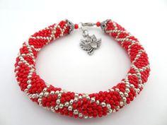 Red and Silver Nepal Beaded Crochet by lesperlesdeDiamanda on Etsy