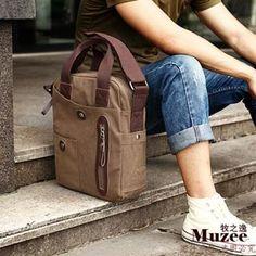 Negocios casual bolso de lona para hombre - Café