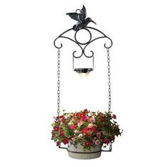 """Southwire/Coleman Cable Moonrays Hummingbird Plant Hanger - Black. You can see your beautiful plants in sunlight and now also at night thanks to Woods Moon Rays. Shine some light on your favorite hanging plant. Kit includes metal light, chains, and ring to hold an 8"""" flower pot you have at home. 10 Lumen White LED. 1 x AA NiCd rechargeable battery included. Metal and plastic construction with black finish. Runs 6-8 hours on a full charge."""