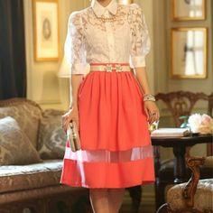 Orange Knee length skirt Orange fashion skirt Skirts Midi