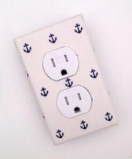 Anchor Outlet Cover / Nautical Nursery Decor / Baby Boy / Bathroom / White and Navy Blue. $10.00, via Etsy. Cute for a beach house!