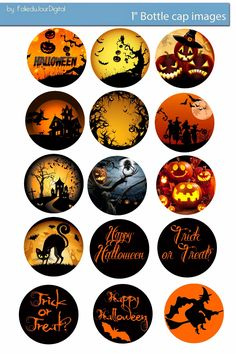Halloween free digital bottle cap images bottle cap images / paper / - You can print and use them for your art . Bottle Cap Jewelry, Bottle Cap Art, Bottle Top, Bottle Cap Images, Vintage Halloween, Fall Halloween, Halloween Crafts, Halloween Labels, Xmas Crafts