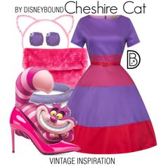 Cheshire Cat by leslieakay on Polyvore featuring Dolce&Gabbana, Kate Spade, vintage, disney, disneybound and disneycharacter