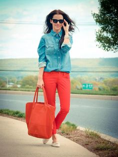Shop this look on Kaleidoscope (top, sunglasses, pants, tote, shoes)  http://kalei.do/W39eGoK3Qb98dHgw