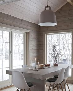 Home Decor Furniture Ideas. Perfect solutions in the case of home improvment. home improvement project ideas. Scandinavian Interior Design, Scandinavian Home, Concrete Dining Table, Concrete Patio, Patio Table, Modern Cottage, Cabin Interiors, Dining Room Design, Dining Rooms