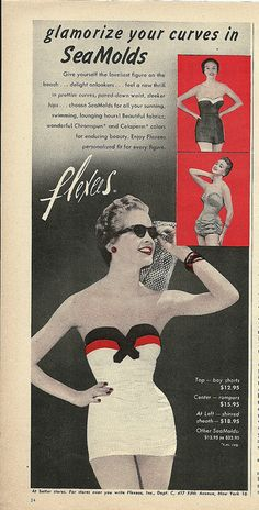 Glamorize your curves in SeaMolds. 1950's swimsuit ad.