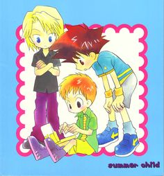 Art by Kemeko Gin/Summer Child, Digimon Adventure 02, Fanart, Digimon Digital Monsters, Summer Kids, Doujinshi, Nerdy, Joker, Children, Anime