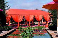 Orange swagging on tent at Indian wedding