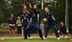 Jos Buttler Photos - Moeen Ali of England takes part in a fielding drill watched by Jos Buttler during a nets session at Edgbaston on July 2018 in Birmingham, England. - England And India Net Sessions Birmingham England, Drill, Ali, India, Leather, Photos, Drill Press, Pictures, Hole Punch