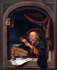 Schrijver in een venster. Jaar: ? Particulier bezit. Naar Gerard Dou: oude man die zijn pen snijdt, ook genoemd: de oude schoolmeester. 1671