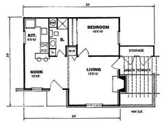 First Floor of Plan ID: 5664 ~ heated area is 648 sq/ft with additional outdoor patio