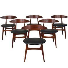 Set of 6 Danish CH-33 Dining Chairs by Hans J. Wegner