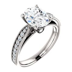 2.0 Ct Oval Diamond Engagement Ring 14k White Gold ($1,407) ❤ liked on Polyvore featuring jewelry, rings, engagement rings, white gold rings, 14 karat gold ring, 14k white gold jewelry and diamond rings