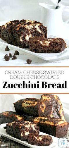 Recipe for cream cheese swirled double chocolate zucchini bread. Recipe for cream cheese swirled double chocolate zucchini bread. Zucchini Desserts, Zucchini Bread Recipes, Köstliche Desserts, Delicious Desserts, Dessert Recipes, Zucchini Cake, Healthy Chocolate Zucchini Bread, Blueberry Zucchini Bread, Recipe Zucchini