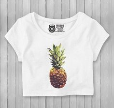 Pineapple Custom Artwork Graphic Crop Top T-Shirt  Womens Crop Top T Shirt, custom artwork, hand printed on an Anvil, soft feel T Shirt. Made with