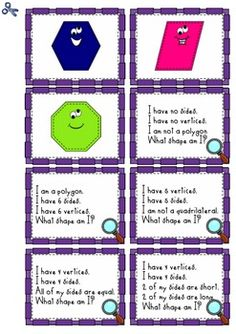 WHAT SHAPE AM I? 2D SHAPE RIDDLES -  Math the shape to the card with clues about sides and vertices Thomas' Teachable Moments